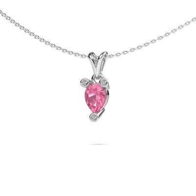 Picture of Necklace Cornelia Pear 950 platinum pink sapphire 7x5 mm