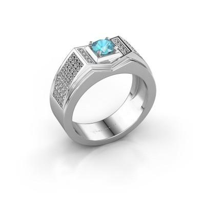 Foto van Heren ring Marcel 925 zilver blauw topaas 5 mm