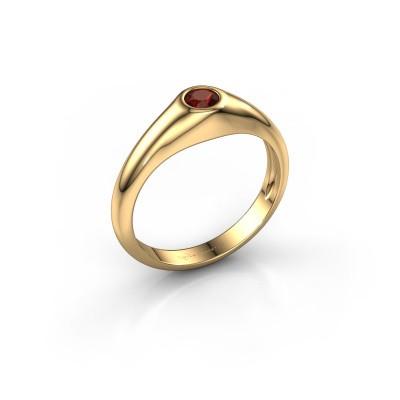 Foto van Pinkring Thorben 585 goud granaat 4 mm