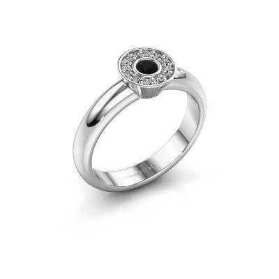 Foto van Ring Fiene 585 witgoud zwarte diamant 0.188 crt