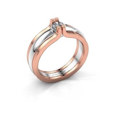 Foto van Ring Jade 585 witgoud diamant 0.25 crt