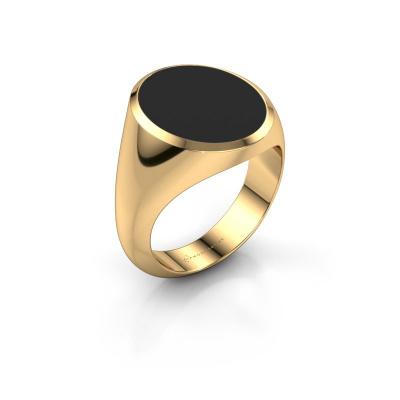 Signet ring Herman 6 585 gold black enamel 16x13 mm