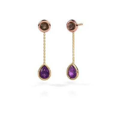 Drop earrings Ladawn 585 gold amethyst 7x5 mm