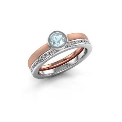 Foto van Ring Cara 585 rosé goud aquamarijn 4 mm