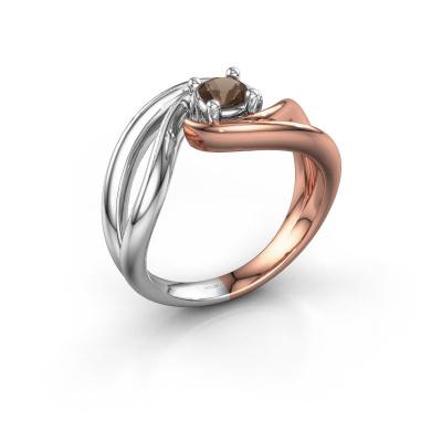 Ring Kyra 585 rosé goud rookkwarts 4 mm