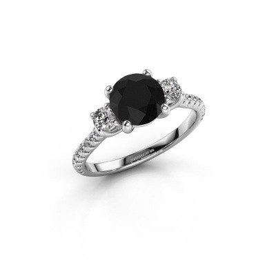 Photo de Bague de fiançailles Jesica 585 or blanc diamant noir 1.94 crt