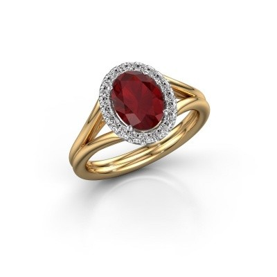 Engagement ring Rachele 1 585 gold ruby 8x6 mm