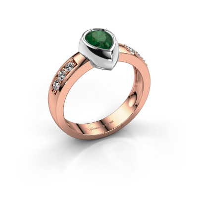 Ring Charlotte Pear 585 rose gold emerald 8x5 mm