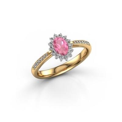 Foto van Verlovingsring Tilly 2 585 goud roze saffier 6x4 mm