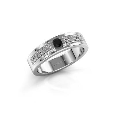 Ring Chanell 925 zilver zwarte diamant 0.28 crt