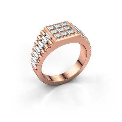 Foto van Heren ring Chavez 585 rosé goud aquamarijn 2 mm