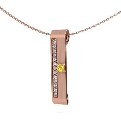 Halsketting Vicki 375 rosé goud gele saffier 3 mm