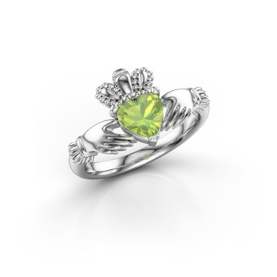 Picture of Ring Claddagh 2 925 silver peridot 6 mm