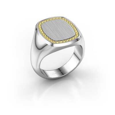 Men's ring Floris Cushion 4 925 silver yellow sapphire 1.2 mm