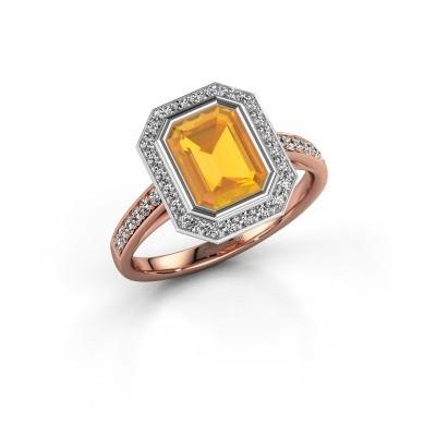Verlovingsring Noud 2 EME 585 rosé goud citrien 8x6 mm