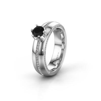 Huwelijksring WH0416L25E 925 zilver zwarte diamant ±5x2.6 mm