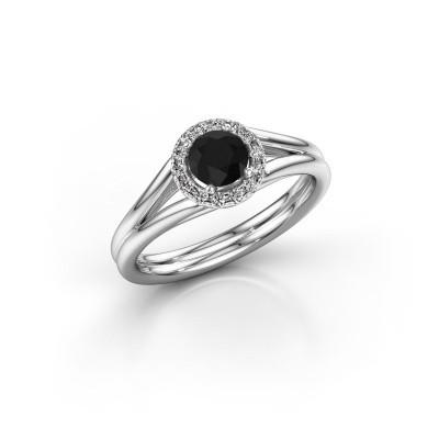 Foto van Verlovingsring Verla 1 585 witgoud zwarte diamant 0.585 crt