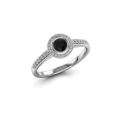 Engagement ring Noud 2 RND 585 white gold black diamond 0.440 crt