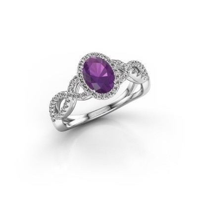 Engagement ring Dionne ovl 925 silver amethyst 7x5 mm