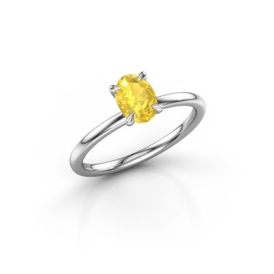 Photo de Bague de fiançailles Crystal OVL 1 950 platine saphir jaune 7x5 mm