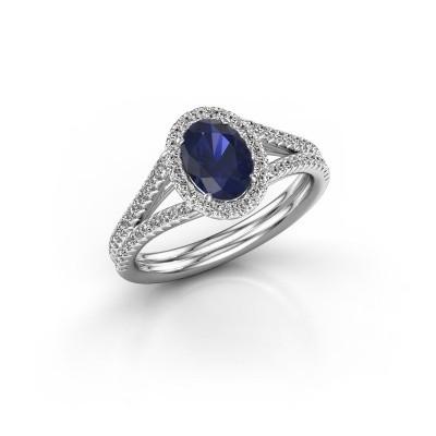 Engagement ring Rachele 2 950 platinum sapphire 7x5 mm