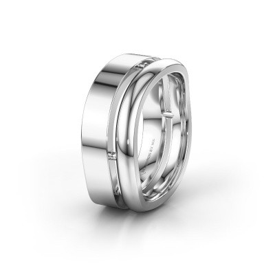Wedding ring WH6008M18BP 925 silver ±10x2 mm