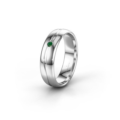 Wedding ring WH0905L35X 950 platinum emerald ±0.20x0.07 in
