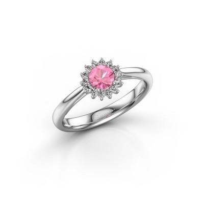 Foto van Verlovingsring Mariska 1 585 witgoud roze saffier 4.2 mm