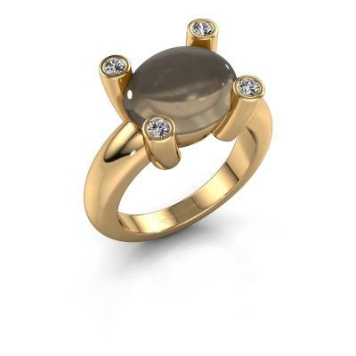Ring Janice OVL 585 gold smokey quartz 12x10 mm