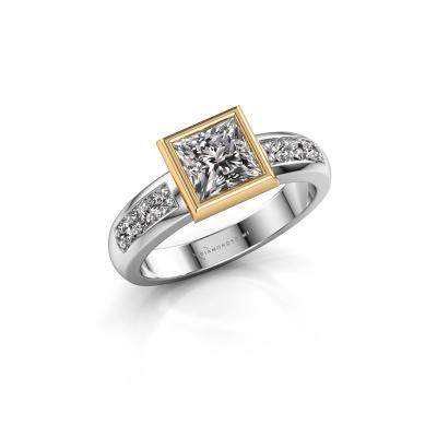 Bague superposée Lieke Square 585 or blanc diamant 1.18 crt