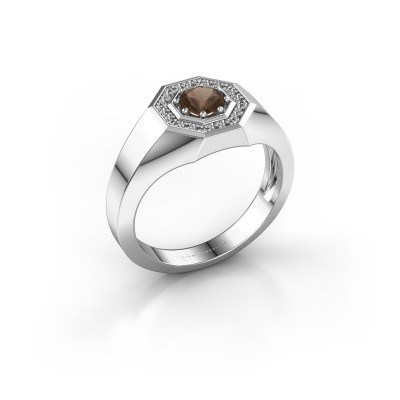 Picture of Men's ring Jaap 925 silver smokey quartz 5 mm