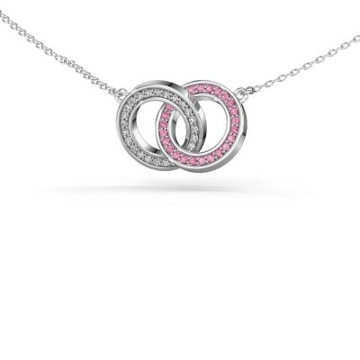 Foto van Halsketting Circles 2 585 witgoud roze saffier 1 mm