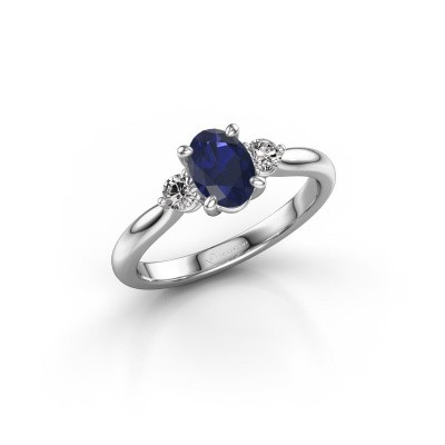 Picture of Engagement ring Lieselot OVL 585 white gold sapphire 7x5 mm