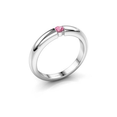 Foto van Verlovingsring Amelia 585 witgoud roze saffier 3 mm
