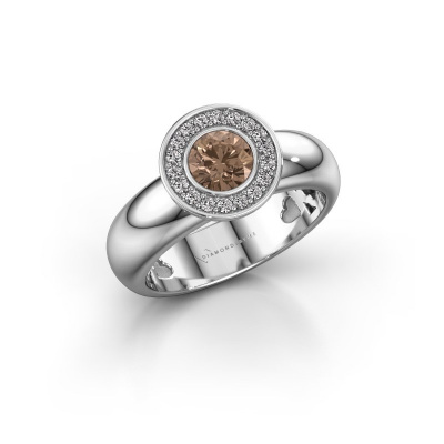 Foto van Stapelring Anna 585 witgoud bruine diamant 0.635 crt