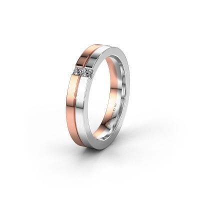 Wedding ring WH0225L14B 585 rose gold zirconia ±4x2 mm