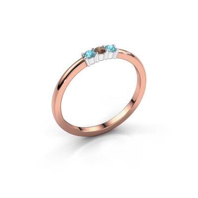 Verlovings ring Yasmin 3 585 rosé goud bruine diamant 0.03 crt