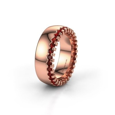 Wedding ring WH6120L27C 375 rose gold garnet ±0.28x0.09in