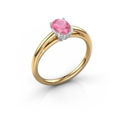 Verlovingsring Haley OVL 1 585 goud roze saffier 7x5 mm
