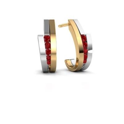 Oorbellen Cato 585 goud robijn 2.2 mm