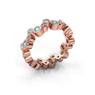 Foto van Ring Tessa 375 rosé goud blauw topaas 2.5 mm