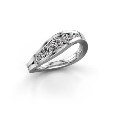 Ring Sigrid 2 585 witgoud zirkonia 4 mm