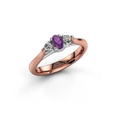 Verlovingsring Jente OVL 585 rosé goud amethist 5x3 mm
