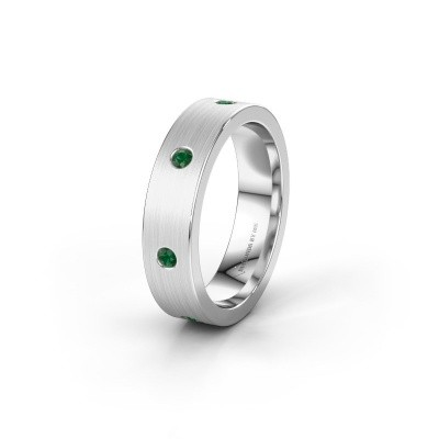 Trouwring WH0105L15BM 950 platina smaragd 2 mm ±5x2 mm