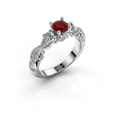 Photo de Bague de fiançailles Kourtney 585 or blanc rubis 5 mm