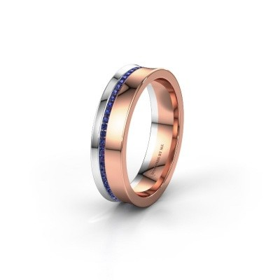 Wedding ring WH6090L55A 585 rose gold sapphire ±5x1.7 mm