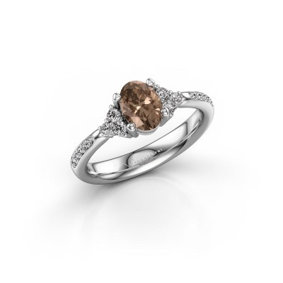 Picture of Engagement ring Aleida OVL 2 925 silver brown diamond 1.012 crt