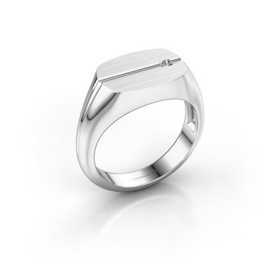 Foto van Herenring Stijn 375 witgoud diamant 0.03 crt