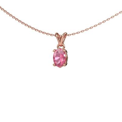 Foto van Ketting Lucy 1 375 rosé goud roze saffier 7x5 mm