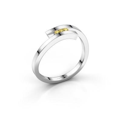 Ring Juliette 585 Weißgold Gelb Saphir 1.6 mm